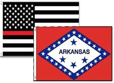 2x3 Usa Fire Thin Red Line Arkansas State 2 Pack Flag Wholesale Set Combo 2'x3'