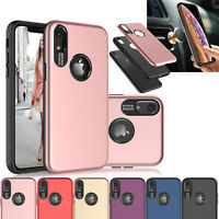 "For iPhone XR 6.1"" Case Hrbrid Magnetic Phone Case Cover + Clear Tempered Glass"