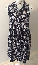 Influence Navy Floral Button Up Sleeveless Dress Size 8