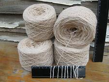 4 x 100g Balls 'IVORY' New Bulk Wool. 740m Knitting Weaving Rug Yarn.   32-3106