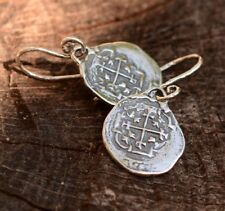Sterling Silver Shipwreck Coin Earrings, Atocha Pirate Treasure Earrings