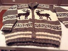 Men's Handknit Reindeer Cream with Brown and Gray Zip Cardigan