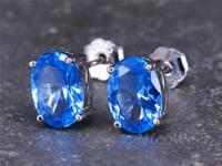Silber Ohrstecker Topas Blau Oval Mit stein Edelstein Damen 925 Ohrringe Stecker