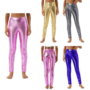 Wet Look Leggings High Waist Faux Leather Ladies Stretch Shiny PU Pants Trousers