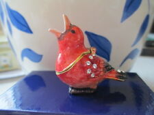 61154 Holly The Cardinal~Bejeweled & Enamel Trinket Box ~ Boutique Miniature
