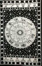 Zodiac Sunsign Indian Twin Tapestry Wall Hanging  Bedding Bed Sheet Black cotton