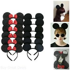 Mickey Mouse Ears Solid Black Bow Minnie Headband Party Supply Accessories 12pc