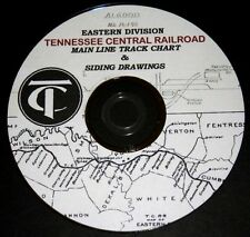 Tennessee Central RR Eastern Track Charts & Hand Drawn Sidings PDF Pages on DVD