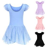 UK Children Girls Short Sleeve Dance Dress Kids Gymnastics Ballet Dancewear Tutu