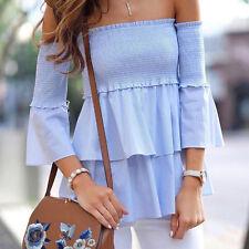 Sommer Damen Schulterfrei T-Shirt Freizeit langärmlig Bluse Oberteile