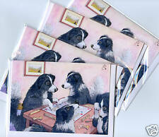 4 x Border Collie dog Scrabble greeting cards sheepdogs playing board game words