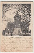 1908 FAIRBURY Illinois Ill Postcard FIRST ME CHURCH