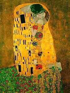 gustav klimt the kiss canvas framed old print painting art vintage