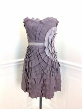 NWT $390 PHOEBE COUTURE Strapless Dress Gray Taupe Ribbon Detail size 12  NEW