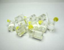 10 Dollhouse Miniature Kitchen Clear Lemon Water Cup Food Drink Glass Bar Decor