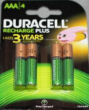 4 Pack Duracell Rechargeable Batteries AAA 750 Mah HR03 DC2400 NiMH Phone Cordle