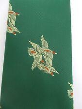 """Vintage Sears Snapper Clip On Green Tie Mallard Ducks in Flight 18"""" Long"""