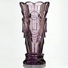 c.1950s Moser sculptural moulded & cut crystal lilac vase, Zadikow or Eschler