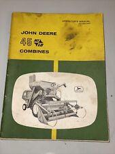 John Deere Model 45 Combines Operator's Manual Om-H90736H Vintage Original