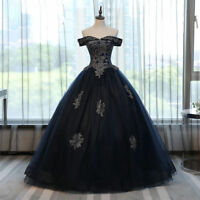 Navy blue Quinceanera Dress Silve Appliques Evening Pageant Prom Dress Ball Gown