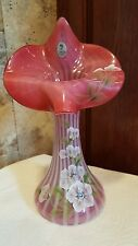 FENTON CRANBERRY SWIRL 10 .5 JACK-IN-THE-PULPIT VASE -2003 Museum Collection