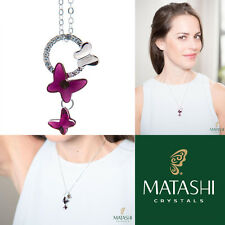 "16"" Rodio Plateado Collar con mariposa púrpura y claro cristales por matashi"
