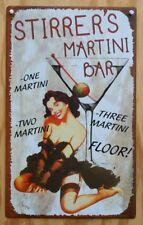 Vintage Style Stirrers Martini Bar Tin Metal Sign Pin Up Girl Lounge Drinks