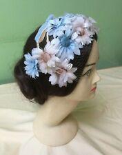 50s Vintage Hat. Pale Blue + Beige Flower Headdress..Wedding