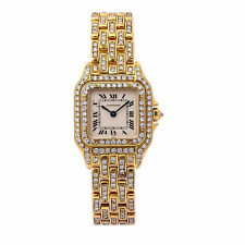 Cartier Panthere 18k Yellow Gold Diamond Watch Fully Iced 5 Carat