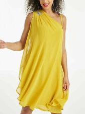 Kleid Gr.50+56 Knielang Sommerkleid Gelb Strass festlich Chiffonkleid Abendkleid