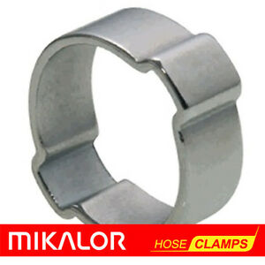 10 or 20 Pack   DOUBLE EAR HOSE CLIP O CLAMP MIKALOR   ZINC PLATED STEEL