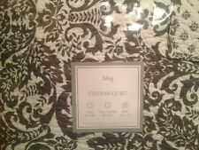 New KING QUILT SHAY 100% COTTON WHITE GRAY FLORAL MEDALLION