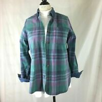 Faded Glory Womens Over-Sized Denim Plaid LS Shirt