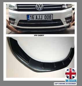 For VW Caddy Front Bumper Lip Cup Skirt Lower Spoiler Splitter ABS  Black 2015>