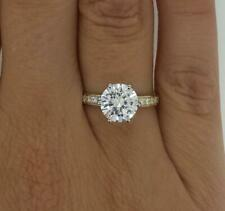 1.75 Ct Pave 6 Prong Round Cut Diamond Engagement Ring VVS1 D Yellow Gold 14k