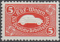 Stamp Germany Revenue WWII 3rd Reich VW Emblem War Era KDF Volkswagen Red MNG