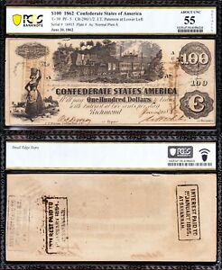 """Nice ABOUT UNC T-39 1862 $100 Confederate CSA """"TRAIN"""" Note PCGS 55! FREE SHIP!"""