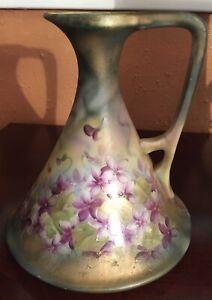 "Gorgeous Rare 7"" Nippon Ewer/Vase Floral Motif & Gold mark#52"