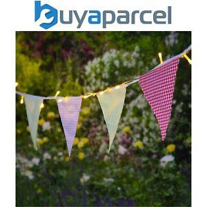 Noma Solar LED String Garden Lights & Village Gingham Pink Bunting 6817052