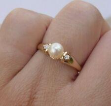 Vintage Ladies 14K Yellow Gold Pearl & Diamond Ring - Size 10.5