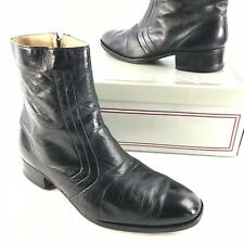 Vintage Men's Beatle Ankle Boots Black Leather Disco Hipster Retro USA Size 8 M