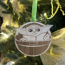 Baby Yoda Wooden Ornament for Christmas