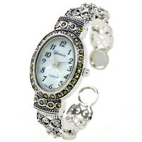 Silver Black Vintage Style Marcasite Crystal Oval Face Women's Bangle Cuff Watch