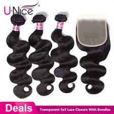 Body Wave Bundles With 5x5 Transparent Lace Closure Brazilian Hair Weave Bundles