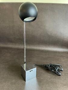 Lightolier Eyeball Desk Lamp Telescopic Mid Century MCM Black Eye & Mirror Base
