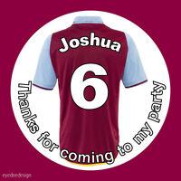 Personalised Football Shirt Birthday Stickers Party Bag West Ham Villa - 592