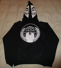 Anonymous Mask w crest hoodie hoody hooded sweatshirt pullover shirt ANON 4Chan