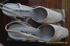 NINA MARIUS GORGEOUS SHOES IVORY LUSTER 91/2 M GREAT CONDITION 24HR SHIPPING