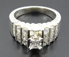 Channel Setting Cz Engagement Sterling Ring Classic Princess Cut Center W/ Round