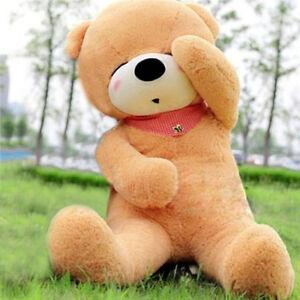 "32""/80cm Giant Big Sleepy Light Brown Teddy Bear Soft Plush Toy Birthday Gift us"